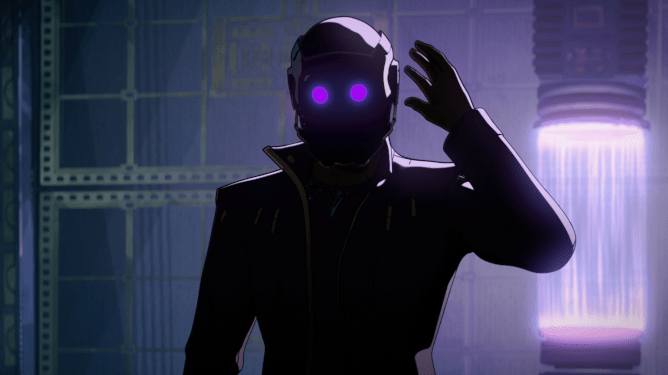 T'Challa as Star-Lord reaches to take off his helmet, he's mostly silhouetted by the light behind him but his helmet's two purple eyes peer out of the shadows. The Power Stone's containment from the first Guardians of the Galaxy movie is the source for the purple light behind him.