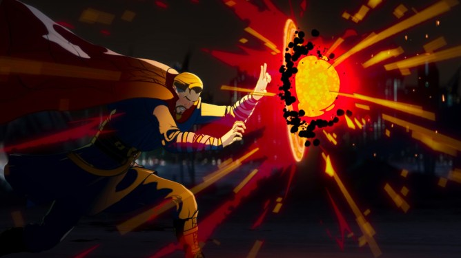 Doctor Strange holding off a bright ball of dark magic power as seen in WHAT IF...? scored by composer Laura Karpman on Disney+