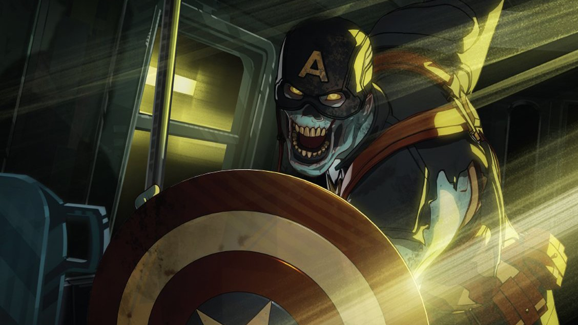 Zombie Captain America attacks with his shield as see in episode 5 of WHAT IF...? on Disney+