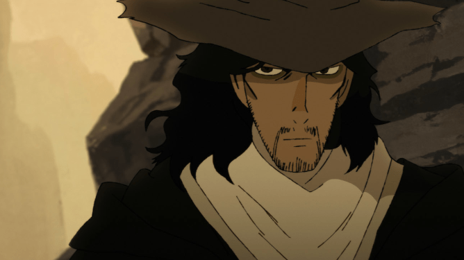 Tsubaki from STAR WARS: VISIONS stands facing the camera, he wears a cowboy hat, has long hair, and stubble on his face.