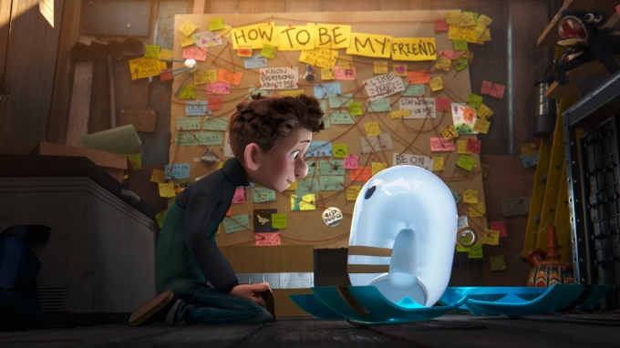 """Barney, voiced by Jack Dylan Grazer, comes face to face with the little blue android Ron, voiced by Zach Galifianakis, in front of a wall filled with sticky notes that reads """"How to be my friend' in the new animated film RON'S GONE WRONG."""
