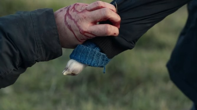 A bloody adult hand holds the hoof arm of Ada the half-human, half-sheep hybrid child in desperation as she walks away as seen in the new A24 horror film LAMB.