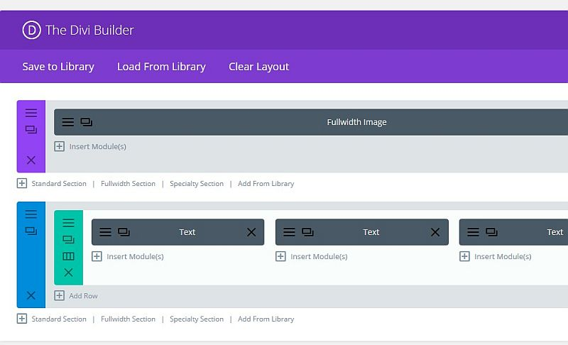 The Divi Builder in a page edit screen