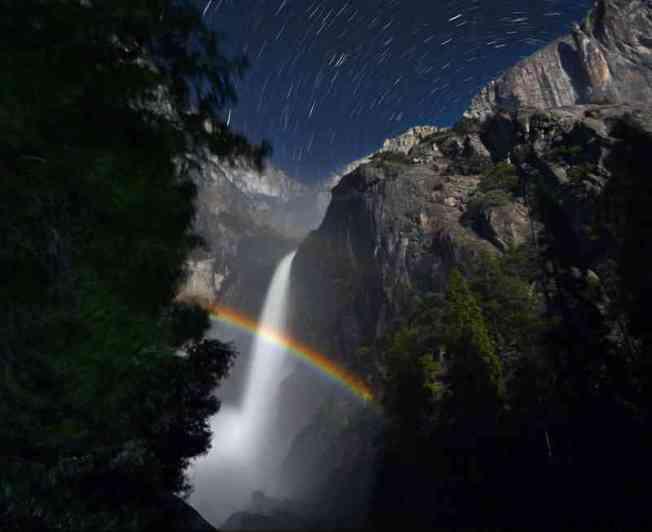 Rainbow in Yosemite National Park at night