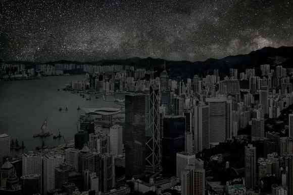 Hong Kong at night under stars