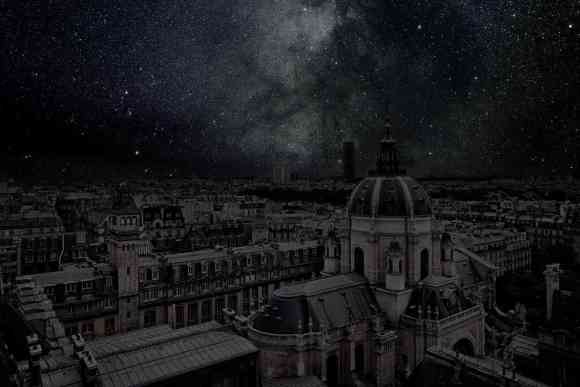 Paris at night under stars