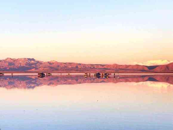 The reflective salt flats of Salar de Uyuni, Bolivia