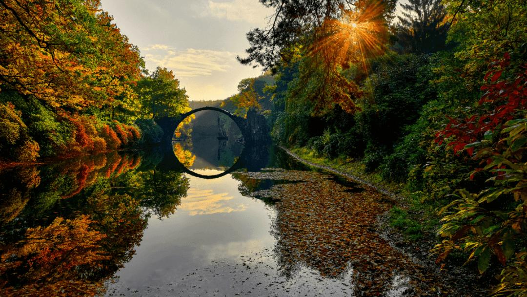 The Devils Bridge in Kromlau Germany