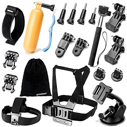 Zookki Accessories Kit for GoPro Hero 5 4 3+ 3 2 1 SJ4000 SJ5000 Camera, Black – Silver