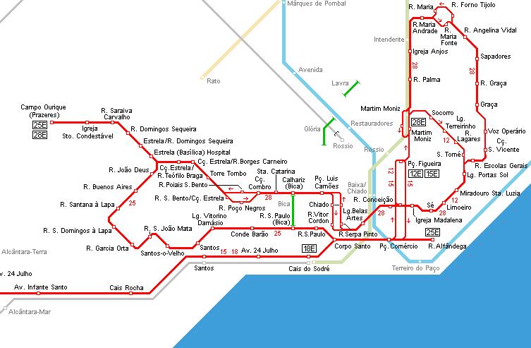 Mapas líneas tranvías Lisboa