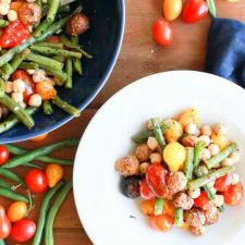 Vegan Green Bean, Tomato, and Basil Sheet Pan Dinner