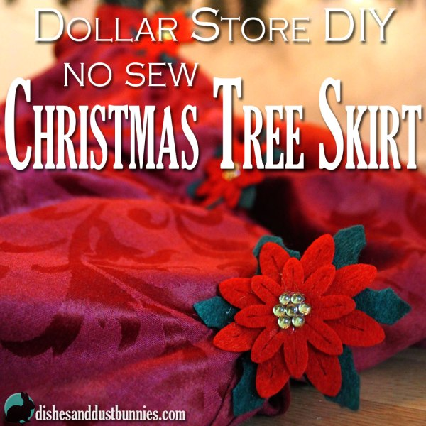 Dollar Store DIY No Sew Christmas Tree Skirt
