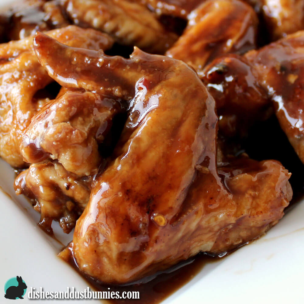 General Tso's Chicken Wings from dishesanddustbunnies.com