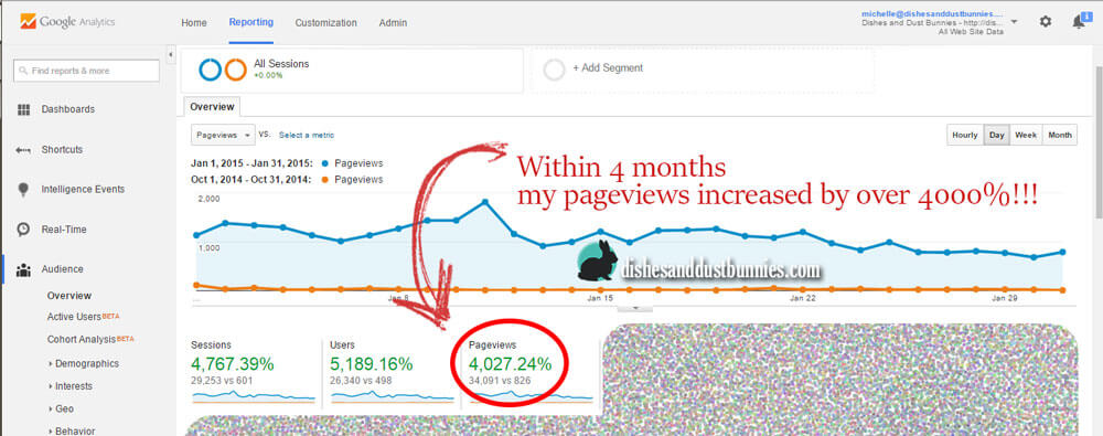 Within 4 months my pageviews increased by over 4000%!!!