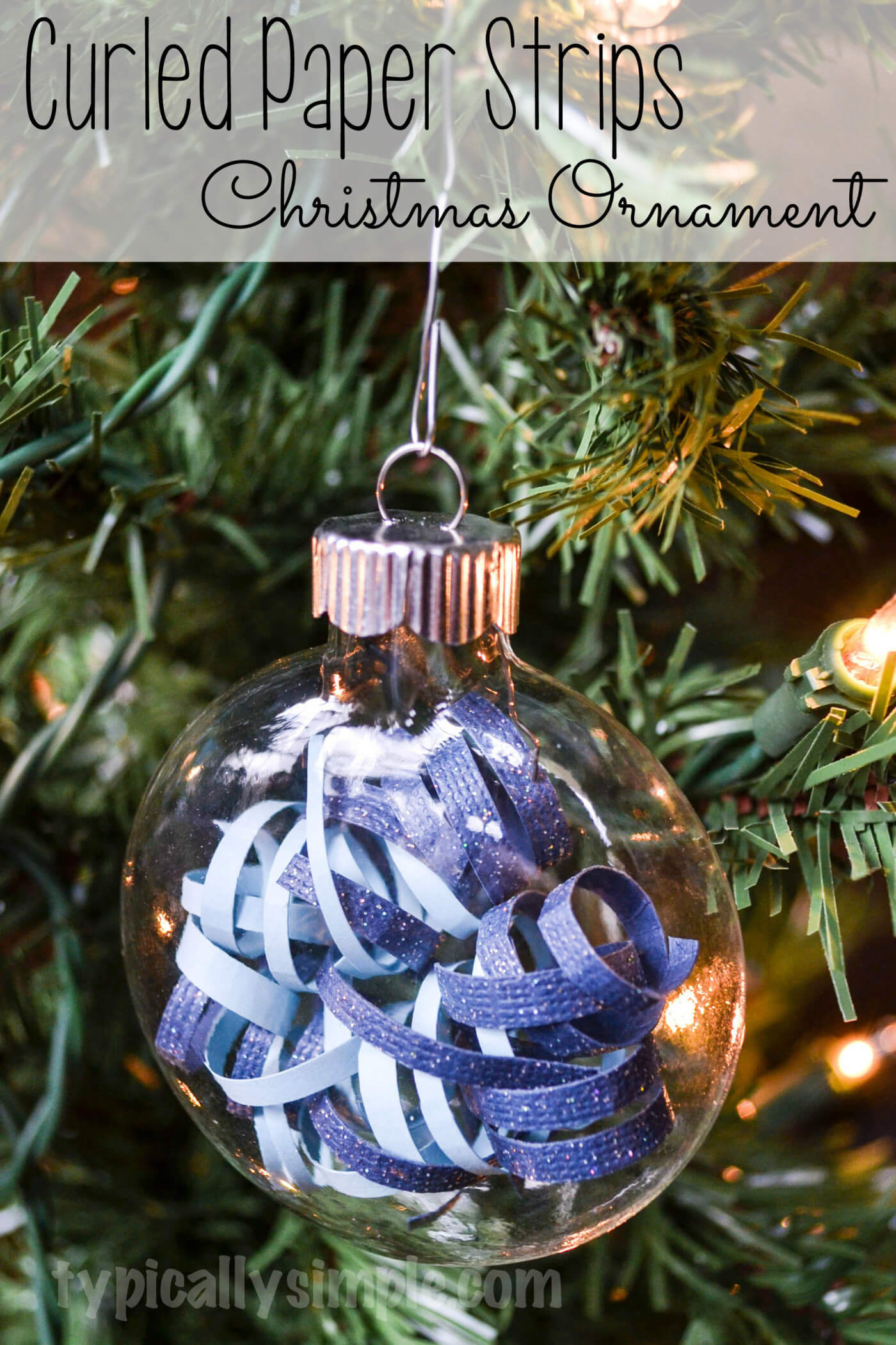 Curled Paper Strips Christmas Ornament from Typically Simple