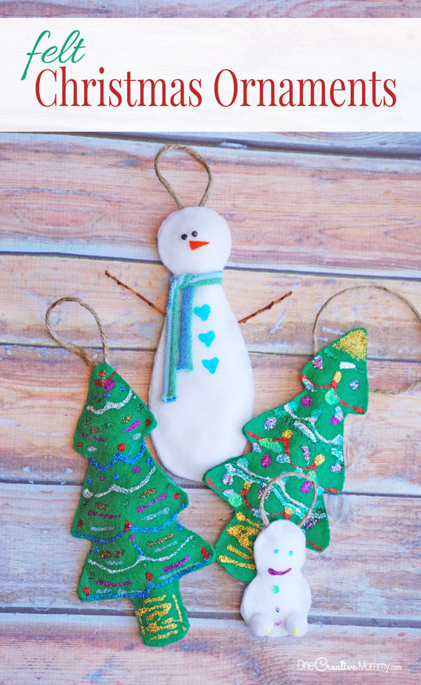 Felt Christmas Ornaments from One Creative Mommy