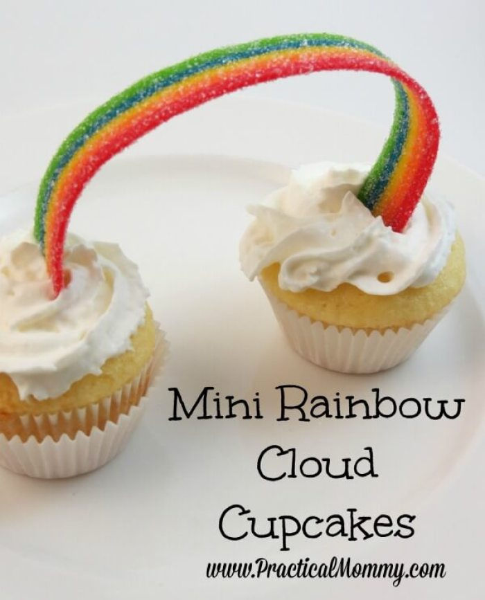 Mini Rainbow Cloud Cupcakes from Practical Mommy