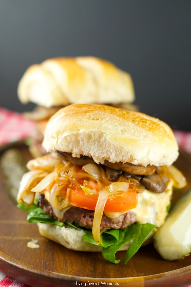 The Ultimate Burger with Caramelized Onions and Mushrooms from Living Sweet Moments