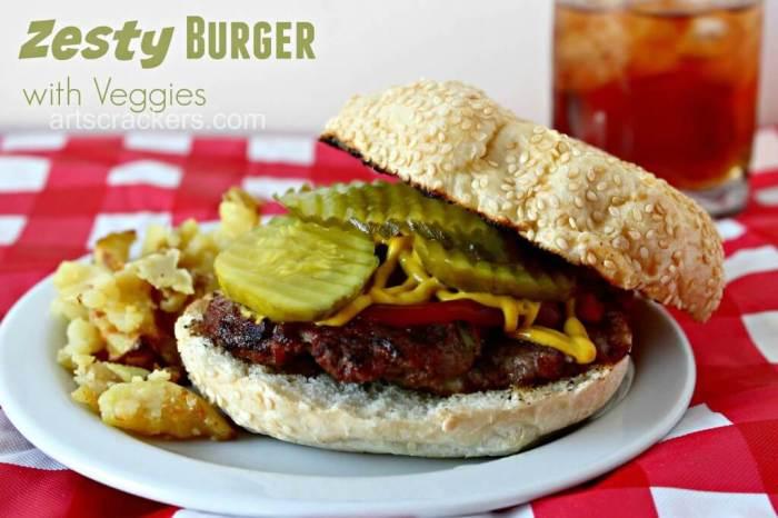Zesty Burger with Veggies from Art & Crackers