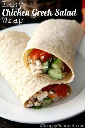 Easy Chicken Greek Salad Wrap Sandwich from Snappy Gourmet