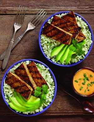 Balsamic Grilled Tofu with Cauliflower Cilantro Rice and Avocado from The Jenny Evolution