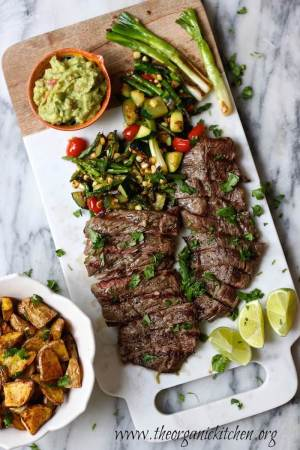 Grilled Skirt Steak and Veggies with Guacamole from The Organic Kitchen