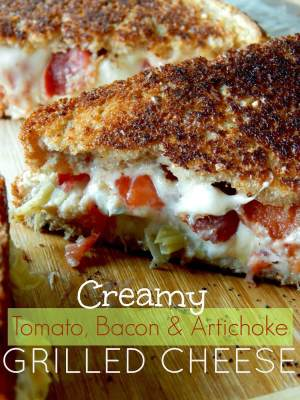 Creamy Tomato, Bacon and Artichoke Grilled Cheese from Ally's Sweet & Savory Eats