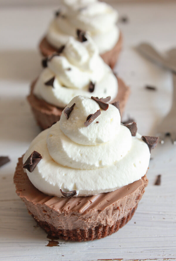 Individual Frozen Creamy Chocolate Mini Pies from An Italian in my Kitchen