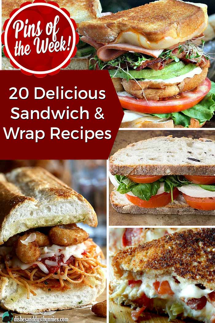 20 Delicious Sandwich & Wrap Recipes - Pins of the Week! from dishesanddustbunnies.com