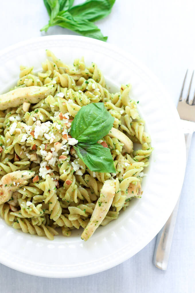20 Minute Pesto Chicken Pasta from Leelalicious