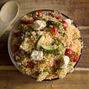 Couscous Salad with Tomatoes, Cucumbers and Feta from dishesanddustbunnies.com
