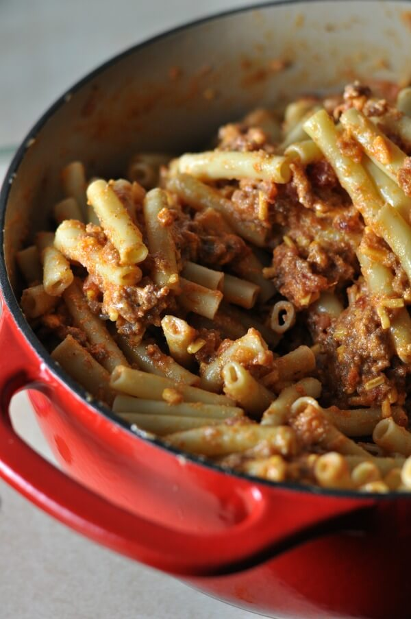 Bacon Cheeseburger Pasta Bake from Dining with Alice