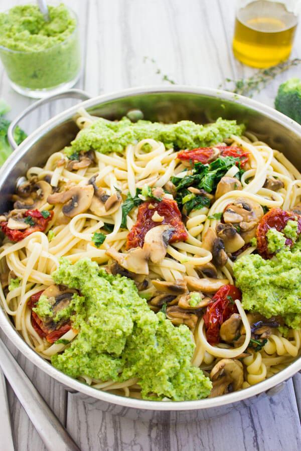 Broccoli Pesto Healthy Pasta Recipe from Two Purple Figs