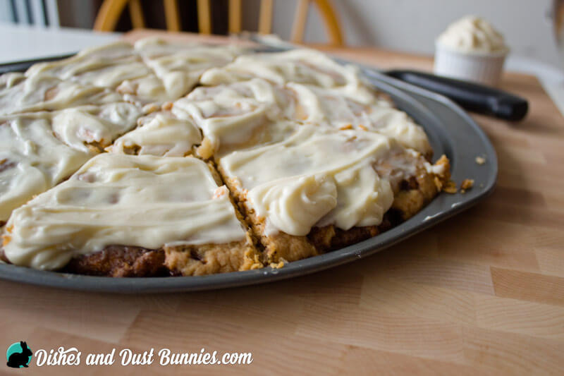 Cinnamon Roll Dessert Pizza from dishesanddustbunnies.com