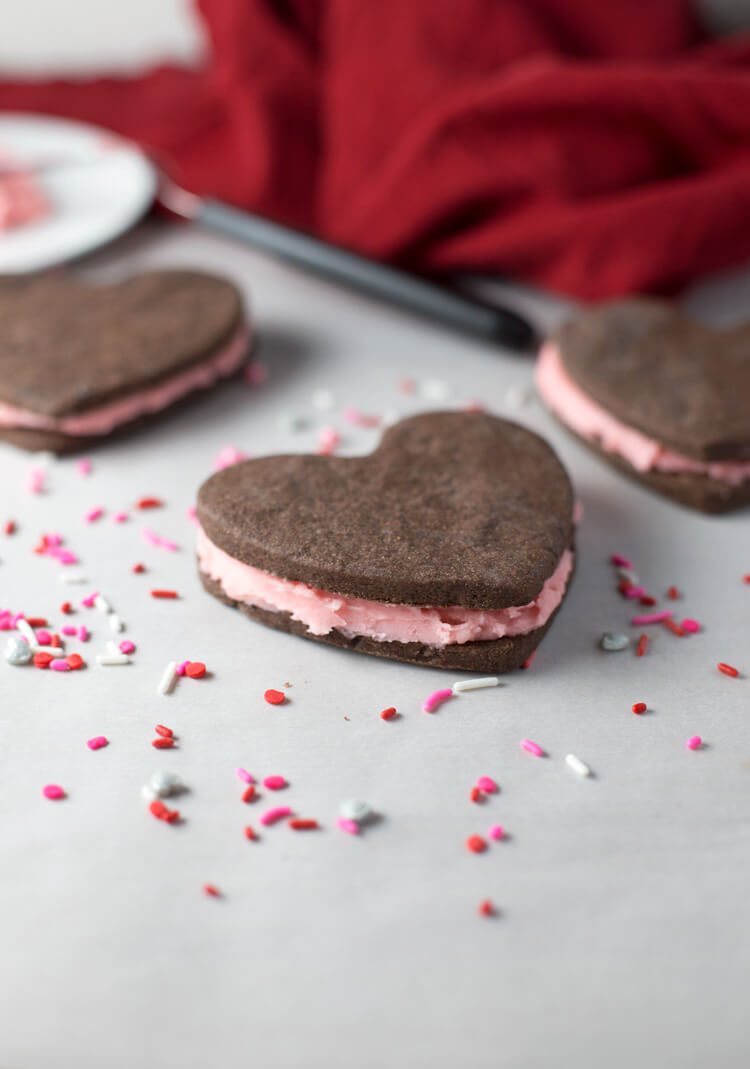 Chocolate Shortbread Strawberry Filled Cookies from Seasonly Creations
