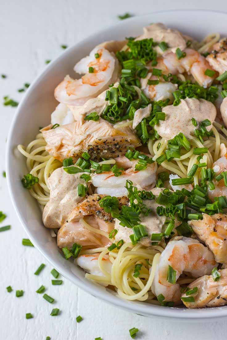 Salmon & Shrimp Pasta from The Fit Blog