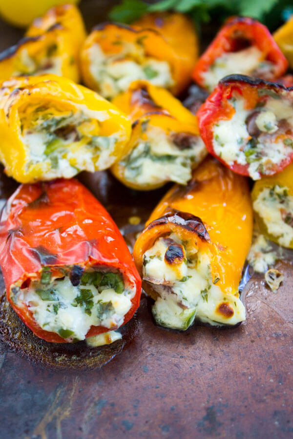 Mini Zesty Feta Stuffed Peppers from Two Purple Figs