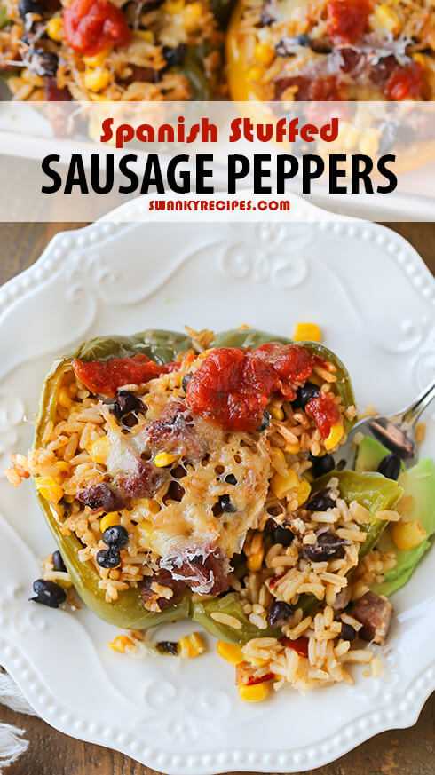 Spanish Stuffed Sausage Peppers from Swanky Recipes