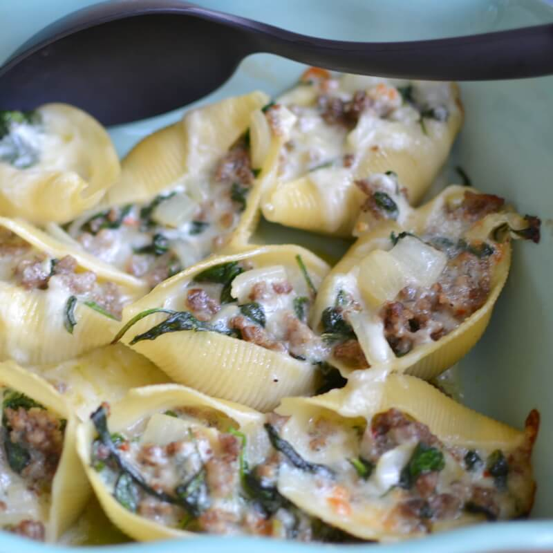 Triple Cheese Sausage Spinach Stuffed Shells from Small Town Woman