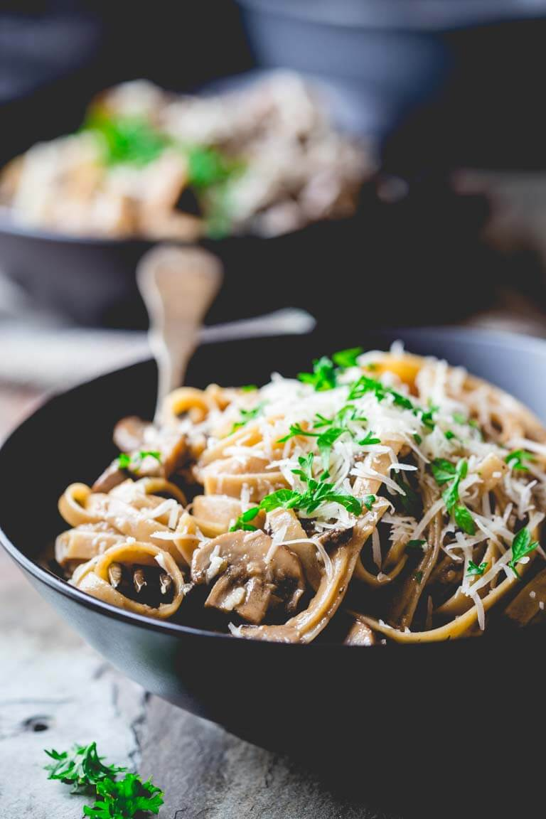 Vegetarian Fettuccine Carbonara with Mushrooms from Healthy Seasonal Recipes