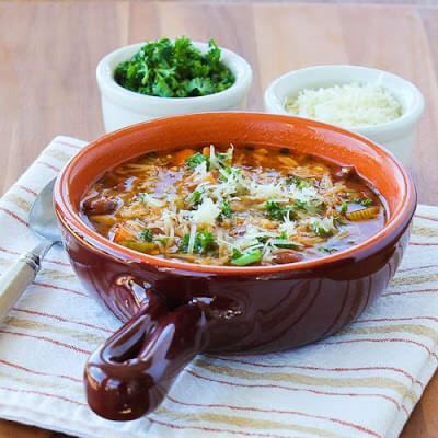 Slow Cooker Vegetarian Pasta e Fagioli Soup Recipe with Whole Wheat Orzo from Kalyn's Kitchen