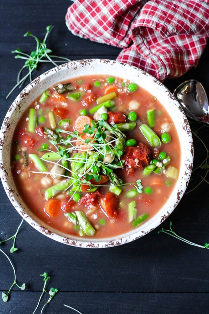 Slow Cooker Vegetable Minestrone Soup from Kitchen of Youth