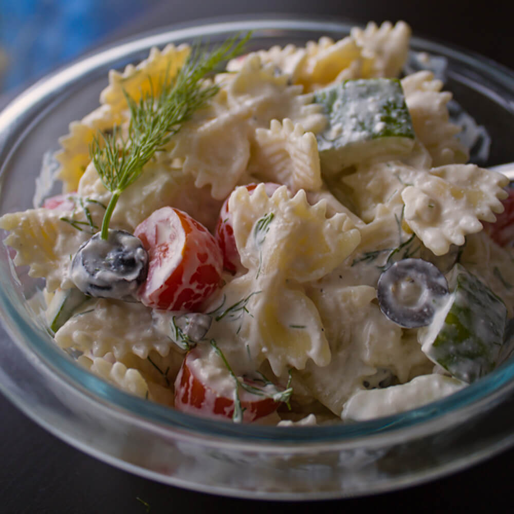 Creamy Greek Pasta Salad With Feta from Dishes & Dust Bunnies