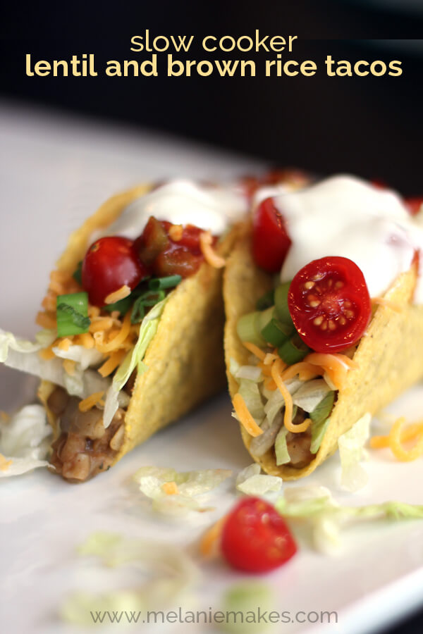 Slow Cooker Lentil & Brown Rice Tacos from Melanie Makes