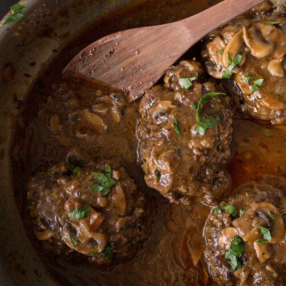 Homemade Salisbury Steak With Mushroom and Onion Gravy from Dishes & Dust Bunnies
