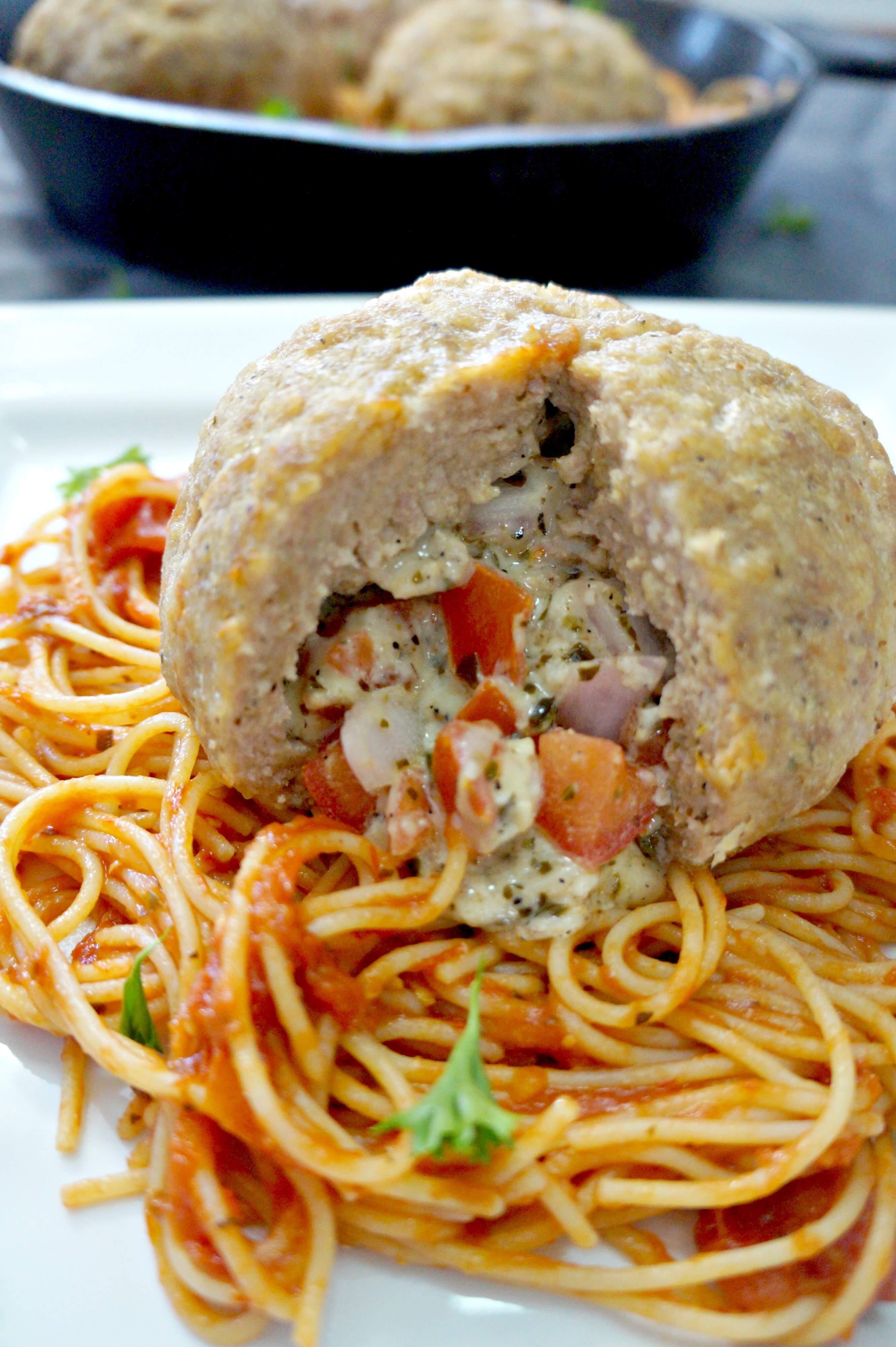 Cheesy Bruschetta Stuffed Meatballs from This is Not Diet Food