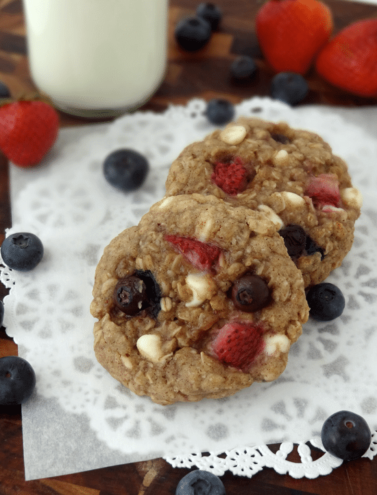 Strawberry and Blueberry White Chocolate Oatmeal Cookies from Life, Love and Sugar