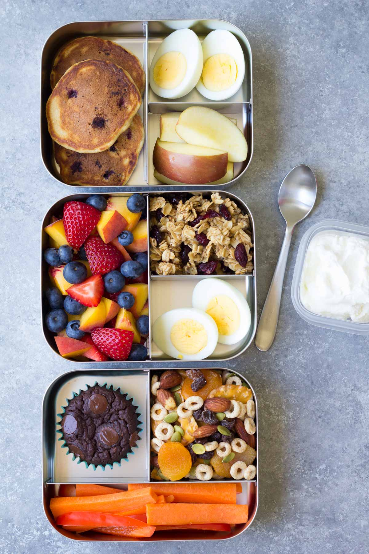 Who says bento boxes are just for kids? This healthy bento-style lunch—loaded with clean, satisfying foods—is perfect to pack for work. Pack snap peas, blueberries, apple, cheese, hummus and crackers in a divided bento-style lunch box or in separate containers with lids. To make ahead Total Time: 10 mins.