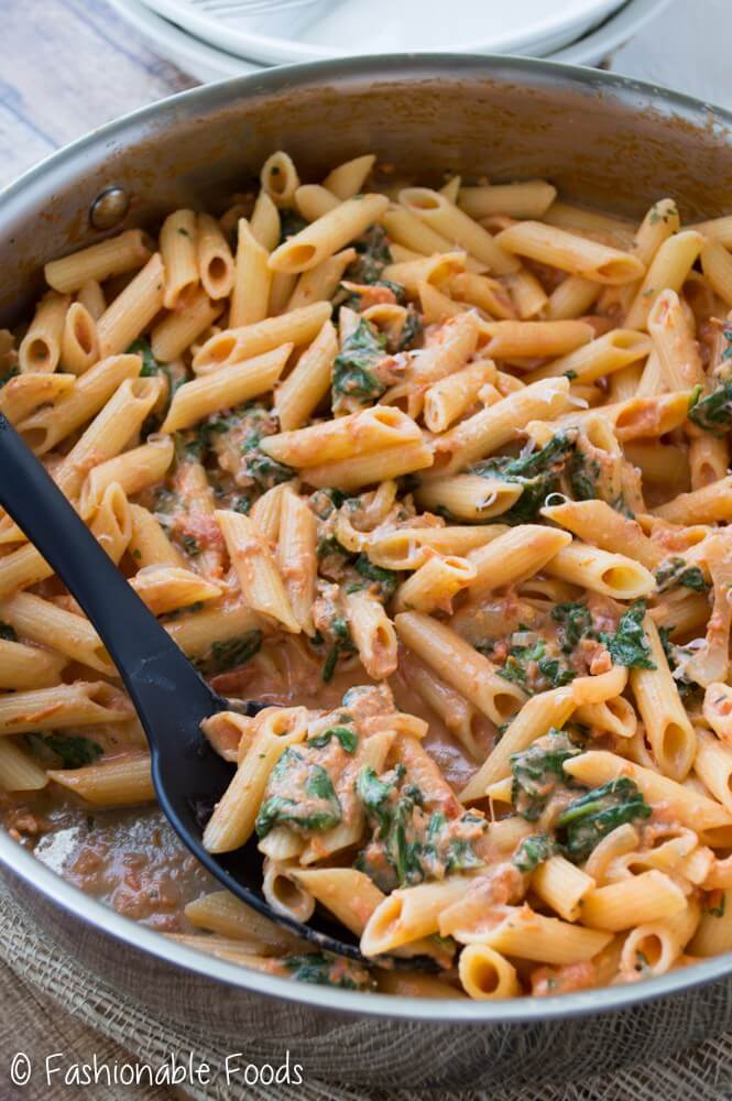 Penne with Sun Dried Tomato Cream Sauce and Spinach from Fashionable Foods