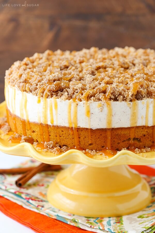 Caramel Pumpkin Spice Blondie Streusel Cheesecake from Love Life and Sugar